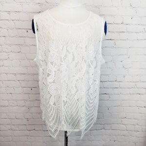 Cato|NWT Soft Sheer Lace Crochet Tank